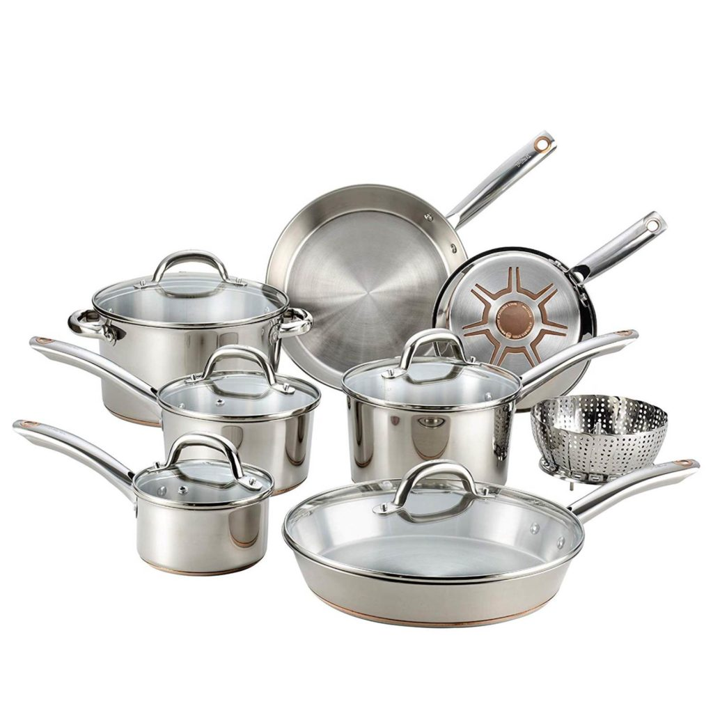 T-Fal C836SD Stainless Steel Copper Bottom 13 PC Cookware Set