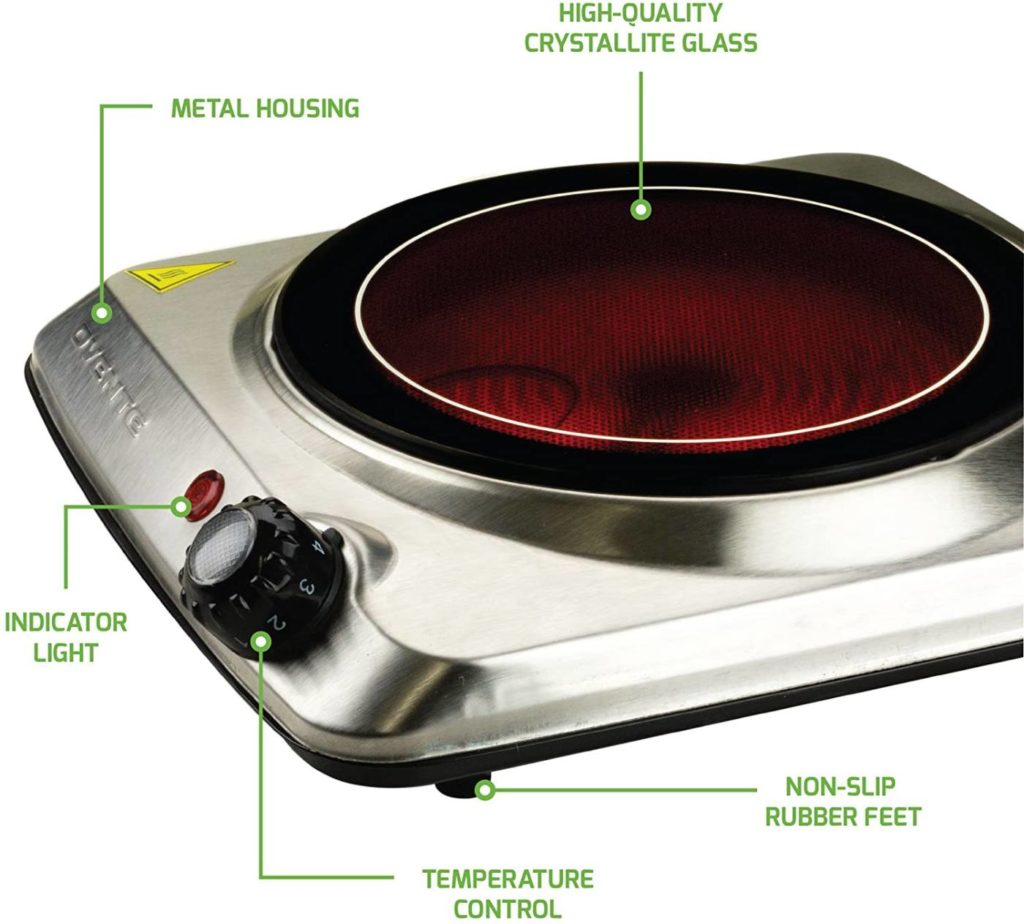 Ovente Electric Glass Infrared Burner 7 Inch Single Hot Plate