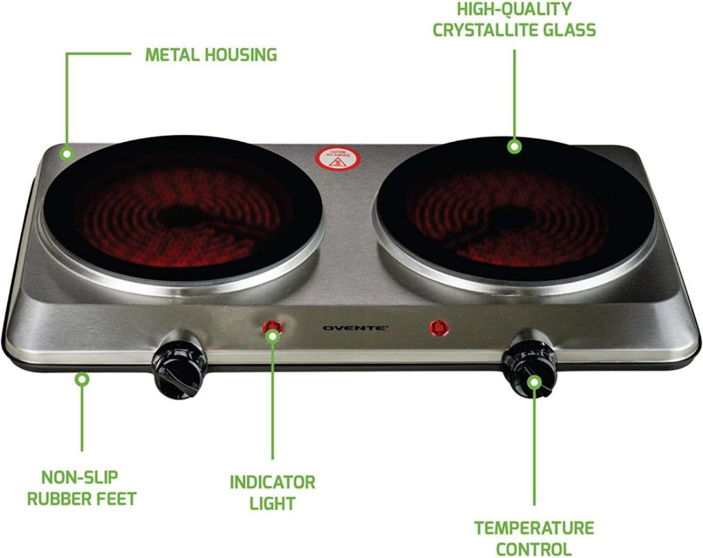 Ovente Electric Glass Infrared Countertop Burner
