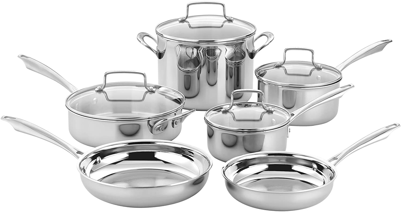 Cuisinart TPS-10 10 Piece Tri-ply Stainless Steel Cookware Set